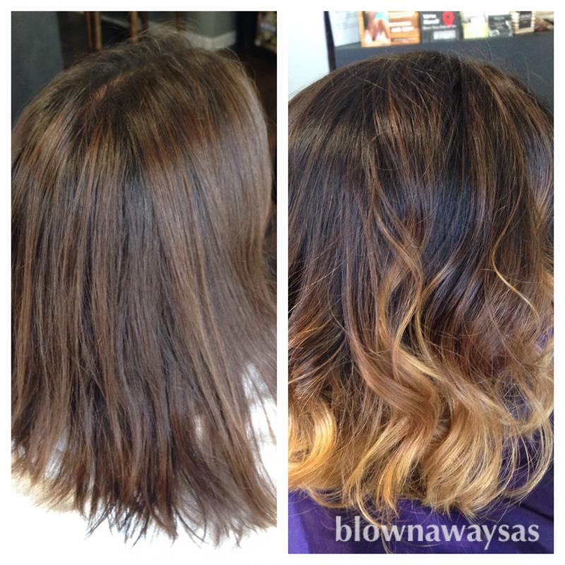 Before and after Caramel Ombre
